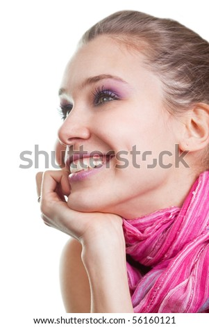 Face of one happy joyful young woman over white - stock photo