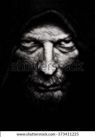 Face of Scary Evil Wrinkled Man - stock photo
