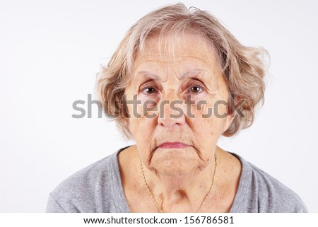 Face of senior woman, candid, natural, no retouching, great details - stock photo