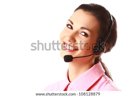 Face of smiling woman with headphones isolated - stock photo