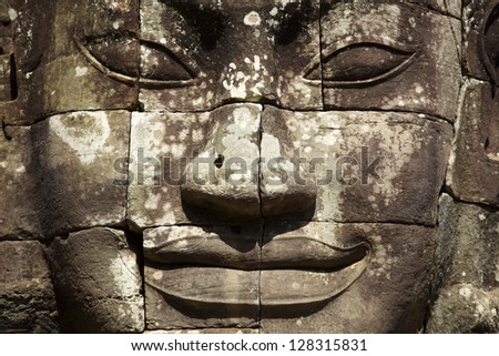 face of the Bayon temple - stock photo