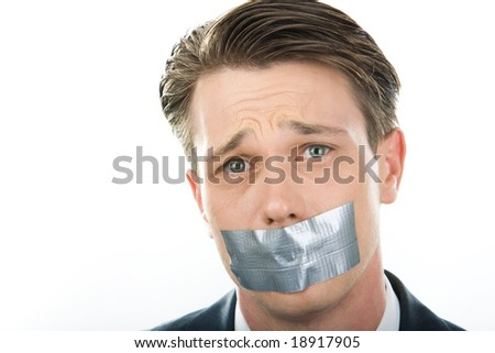 Face of unhappy man having his mouth closed with sellotape