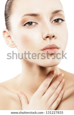 face of woman with clean skin - isolated - stock photo