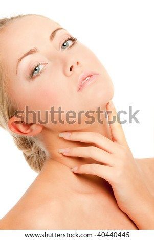 Face of woman with flower, white background - stock photo