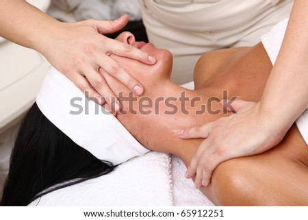face of women getting a spa treatment