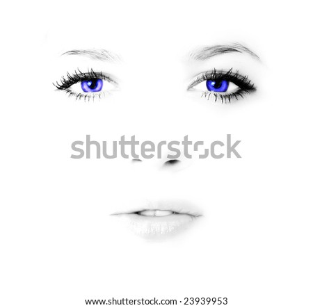 Face of young beauty woman in high key with blue eyes - stock photo