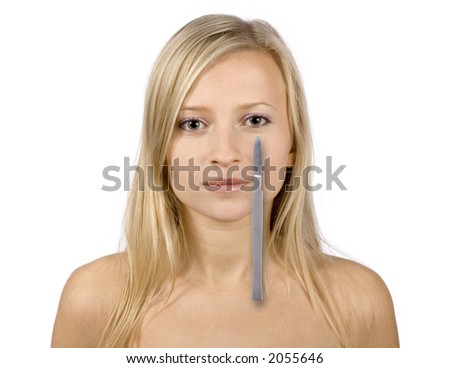 face of young blonde woman and scalpel (digital composition, pure white background) - stock photo