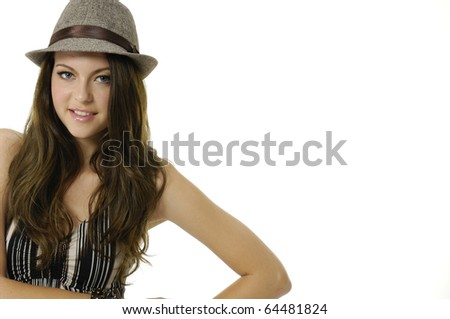 face of young woman with hat good face complexion - stock photo