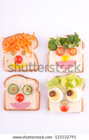 face on bread for kids - stock photo