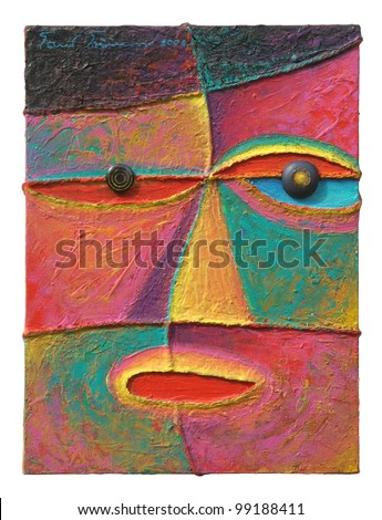 Face 10. Original acrylic painting on canvas. - stock photo