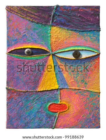 Face 6. Original acrylic painting on canvas. - stock photo