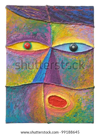 Face 11. Original acrylic painting on canvas. - stock photo
