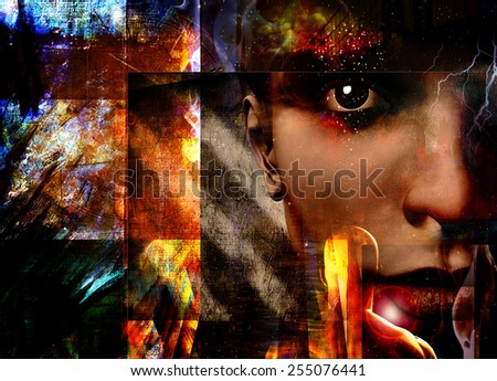 Face peers out from abstract - stock photo