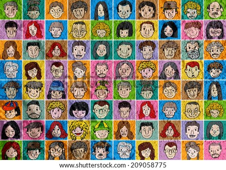 Face people   on Cement wall texture background - stock photo