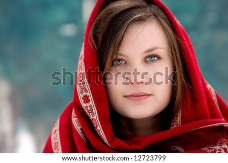 face portrait of beautiful girl in russian kerchief - stock photo