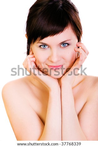 face portrait of beautiful girl on white background - stock photo