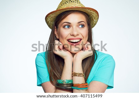 face portrait of funny young woman.  - stock photo