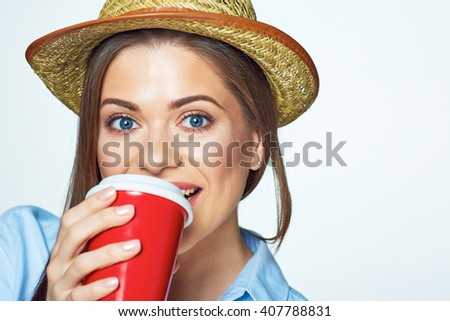 Face portrait of happy woman with coffee cup. Isolated on white background. - stock photo