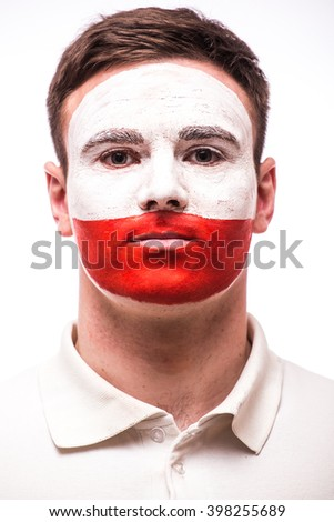 Face Portrait of Polish football fan pray for Poland national team on white background. European  football fans concept.