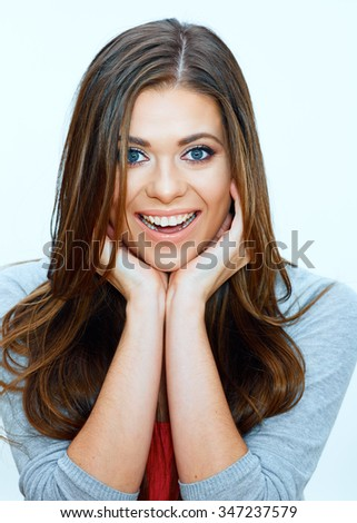 face portrait of smiling woman. close up.  Isolated portrait. Long Hair. - stock photo