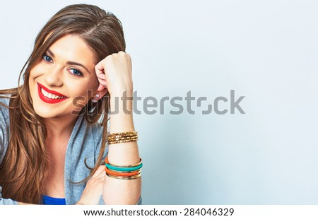 Face portrait of smiling woman. Teeth smiling girl. One model portrait on white background. - stock photo