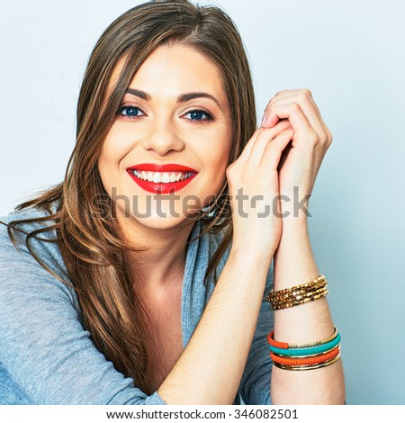 Face portrait of smiling woman. Teeth smiling girl. One model portrait on white background.