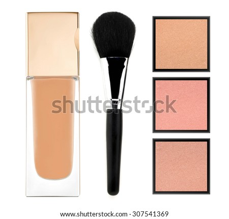 face powder and liquid makeup foundation isolated on white background - stock photo