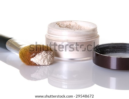 Face powder with makeup brush - stock photo