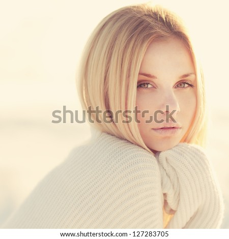 face sexy young woman with beautiful eyes - stock photo