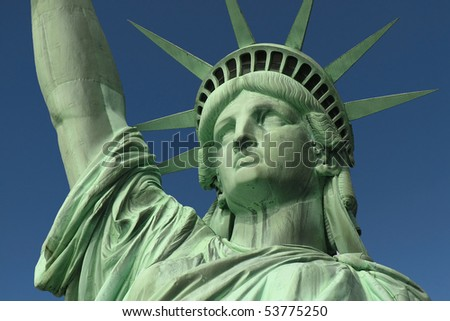 Face shot of New York's Statue of Liberty.