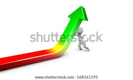 Face to a crisis, a character is straightening up a financial curve. - stock photo