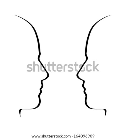 Face to face - conversation, communication minimalistic concept - stock photo