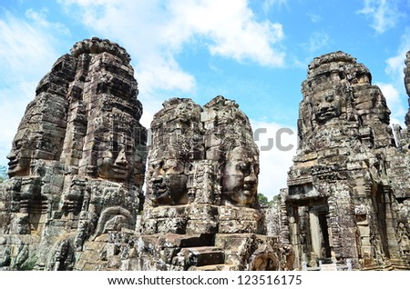 Face towers of Buddha in Bayon temple