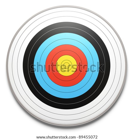 face view of an archery target over a white background with shadow