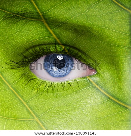 Face with leaf texture - stock photo