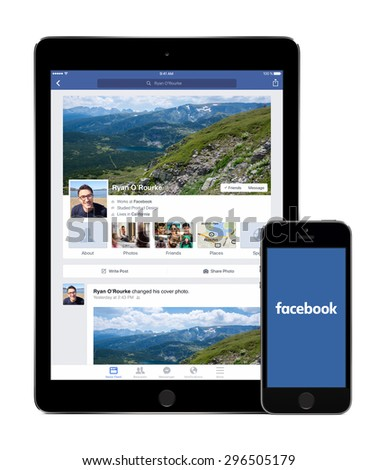 Facebook social network app on the Apple iPad Air 2 screen and Facebook new logo on the iPhone 5s display. Isolated on white background. High quality. Varna, Bulgaria - February 02, 2015. - stock photo