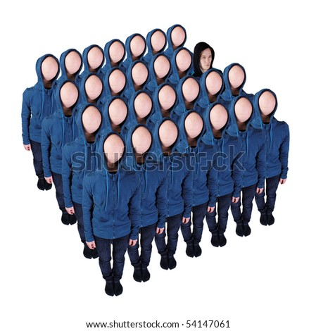 Faceless crowd with an exception - stock photo