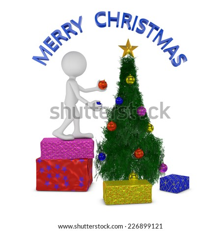 faceless man standing on gift box decorates Christmas tree - stock photo