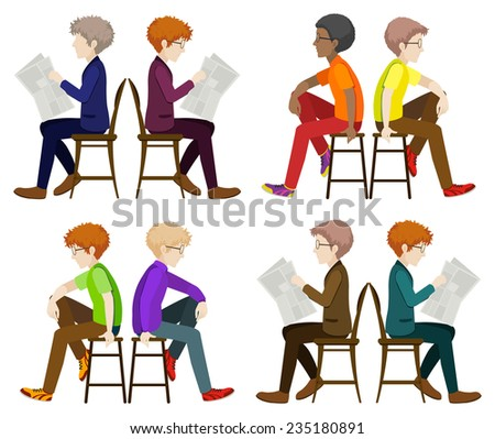 Faceless men sitting down on a white background