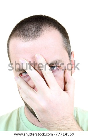 Facepalm gesture showing frustration, disbelief and annoyance. Young adult near his 30s - portrait isolated against white background. Short-haired male.