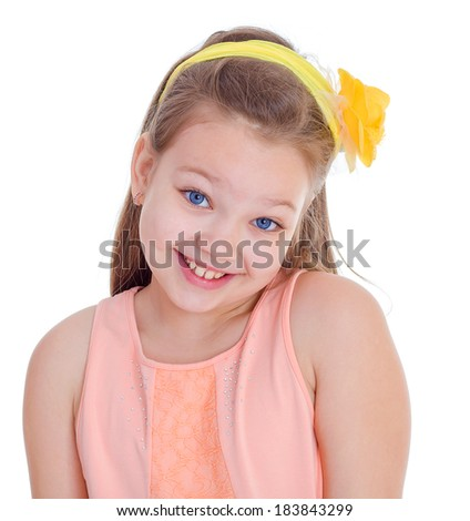 Faces,girl,child and kid -A young girl on vacation in the summer with a glass of juice. Isolated on white background. - stock photo