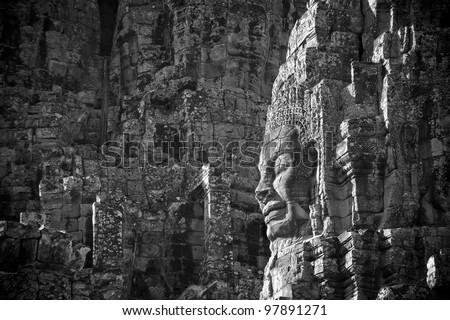 Faces of Bayon temple, Angkor, Cambodia - stock photo