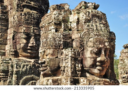 Faces of Bayon temple in Angkor Thom, Siemreap, Cambodia. - stock photo