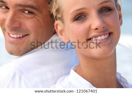 Faces of couple - stock photo