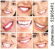 Faces of smiling people. Healthy teeth. Smile - stock photo