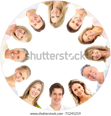 Faces of smiling people. Over white background - stock photo