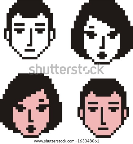 Faces of young man and female as pixel icons. See other options in my portfolio.