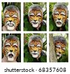 Faces painted as a leopard displaying various emotions. - stock photo