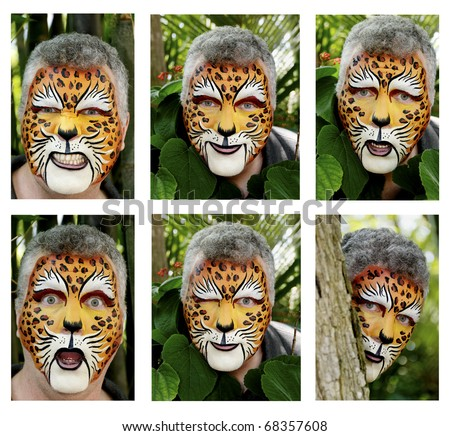 Faces painted as a leopard displaying various emotions.