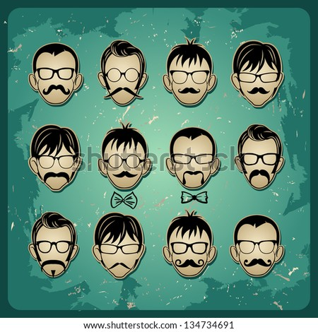 Faces with Mustaches, sunglasses and a bow tie avatars . rasterized/bitmap version - stock photo